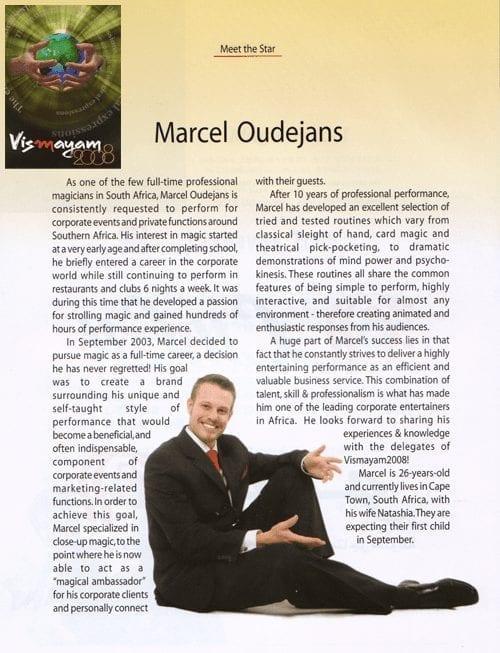 Marcel Oudejans in the Vismayam2008 Programme