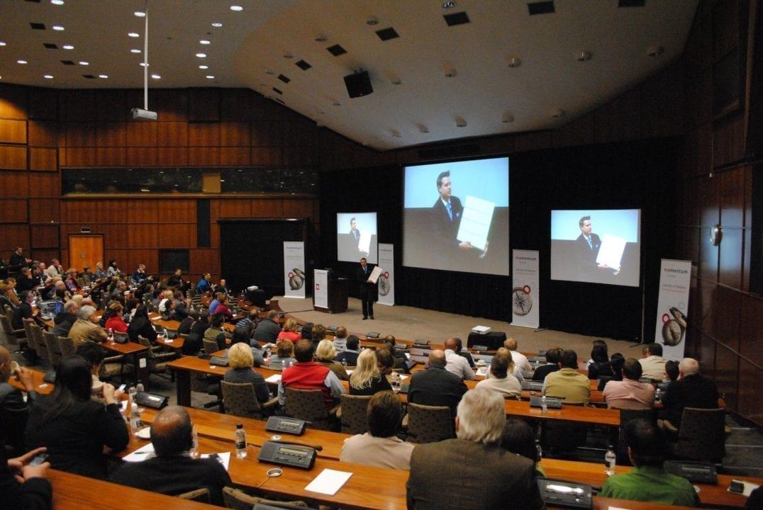 Keynote speaker Marcel Oudejans on stage