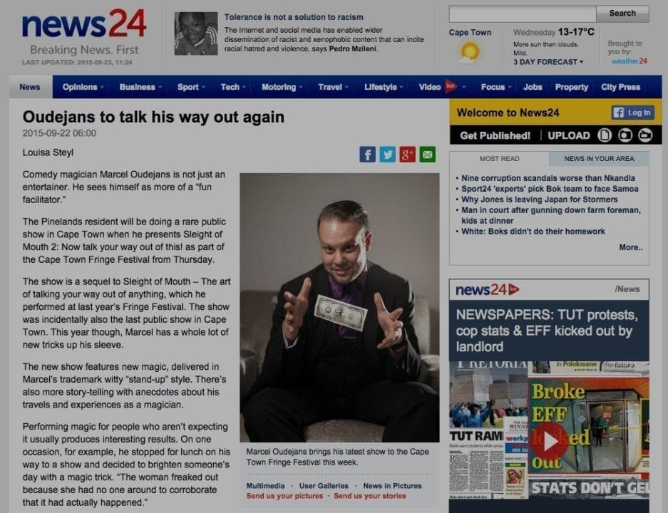 "Screenshot of ""Oudejans to talk his way out again"" on News24"