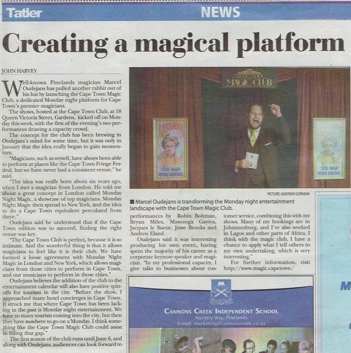 Article about Marcel Oudejans & Cape Town Magic Club in the Tatler newspaper